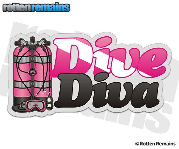 Dive diva pink scuba diving sticker decal