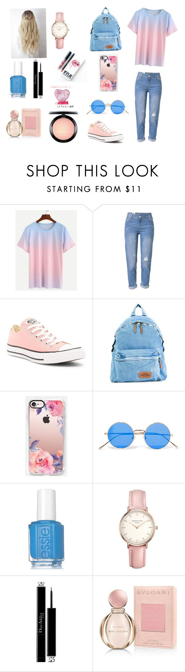"""Girls out wear"" by reinahafez ❤ liked on Polyvore featuring WithChic, Converse, Eastpak, Casetify, Illesteva, Essie, Topshop, Christian Dior, Bulgari and MAC Cosmetics"