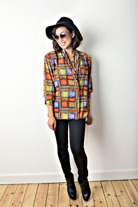 Double breasted blouse with watercolor square by CirkusVintageCph