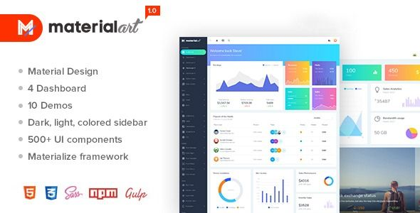 Materialart Powerful Material Admin Template Build Your Dashboard