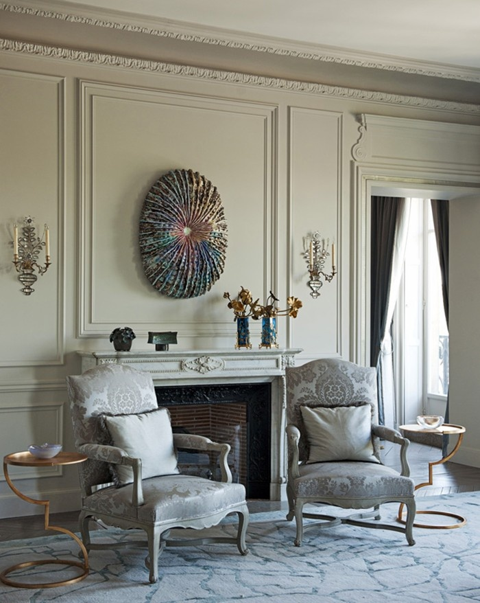 I don't like that funky-looking thing on the wall above the fireplace, but everything else is beautiful.  #home #decorChairs, Paris Apartments, Room Decor Ideas, Living Room, Home Decor, Silver Room, Interior Designdecor, Gray Decor
