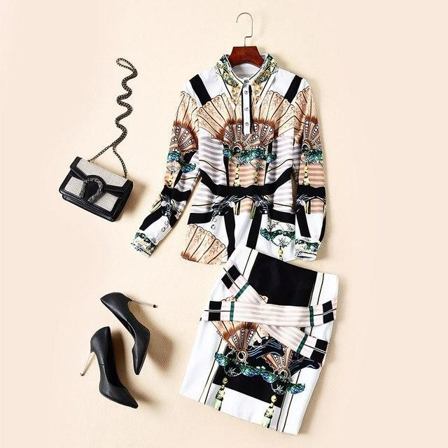 New Light ripe autumn outfit female star temperament with high printing shirt pockets hip skirt the stylish two-piece M 2