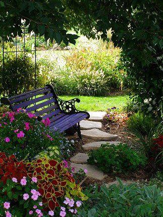 - Shade garden ideas - Bench & path for shady area Showy Shade Gardens | The Garden Glove