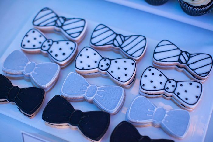 Bow Tie Cookies from a Monochromatic Little Man Birthday Party via Kara's Party Ideas KarasPartyIdeas.com (19)