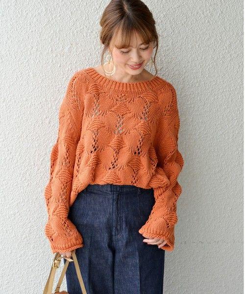 SHIPS for women(シップスフォーウィメン)の「3ゲージクルーネックプルオーバー◆(ニット/セーター)」 オレンジ #sweatersforwomen
