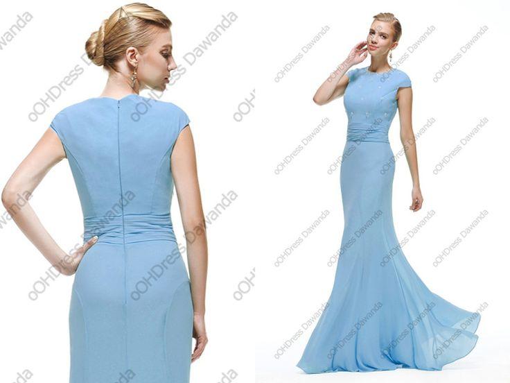 Meerjungfrau kleid hellblau – Abendkleider beliebte Modelle