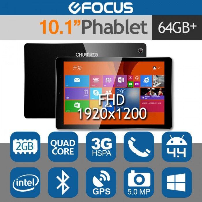 "10.1"" V10HD 3G Tablet Phone Android 4.4+Windows 8.1 Intel 2G/64G"