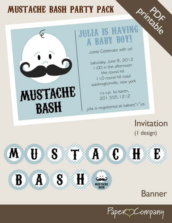 LOVE THIS IDEA for Mavericks first Birthday :)  MUSTACHE BASH Boy Baby Shower Party Package by PaperHeartCompany