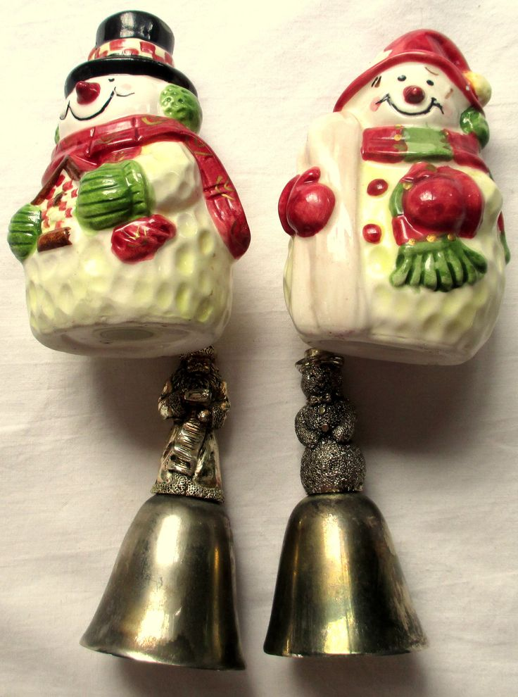 Snowman Salt and Pepper Shakers, Snowman Bells, Santa Bell, Silver Bells, Silver Snowman Bell, Silver Santa Bell, Christmas Salt and Pepper by MyGrandmothersHouse on Etsy