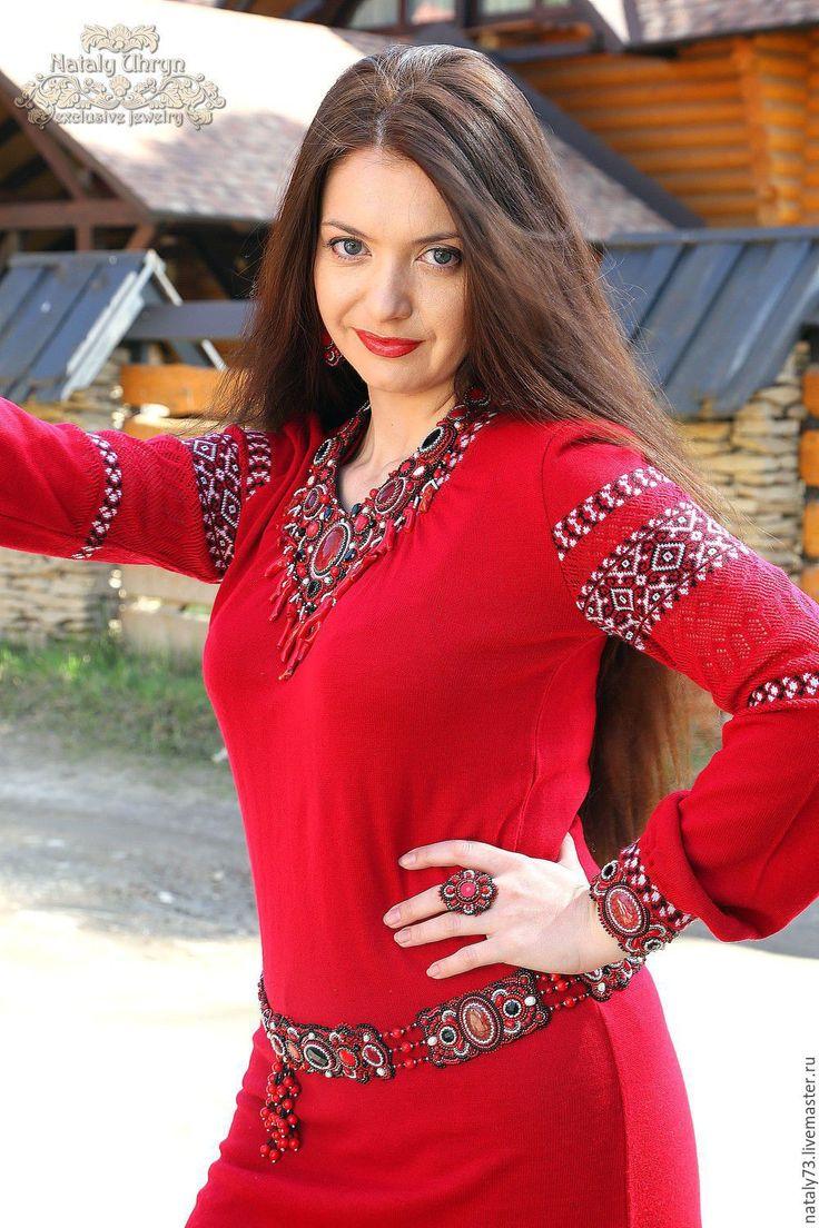 Купить пояс на бедра ''К вышиванке'' - ярко-красный, орнамент, вышиванка украинская, пояс с вышивкой