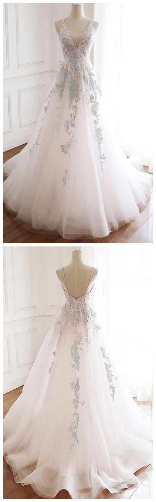Tulle lace long prom dress, white evening dress 3