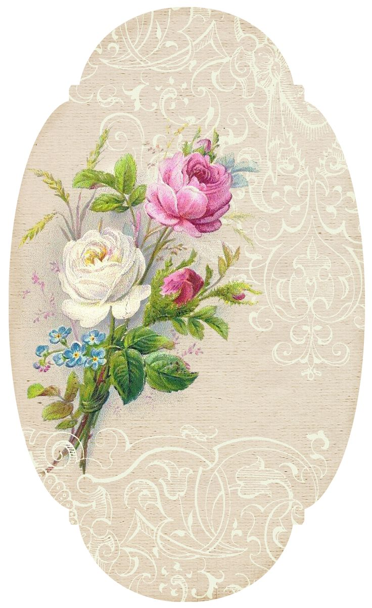 Oval with White & Pink Roses