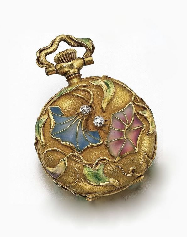 LADY'S WATCH CIRCA 1910 - gold cuvette, white enamel dial, red Breguet numerals, case with Art Nouveau rendering of flowering vines in high relief with plique á jour enamel in tones of blue, mauve and green with some loss, case dial and movement signed. | Sotheby's