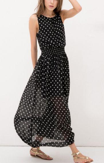 Polka Dots Print Black Sleeveless Maxi Chiffon Dress Encontrado en 6ks.com