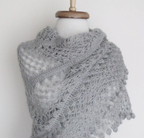 Grey Bridal CASHMERE Mohair shawl-Ready to ship  by knittingshop