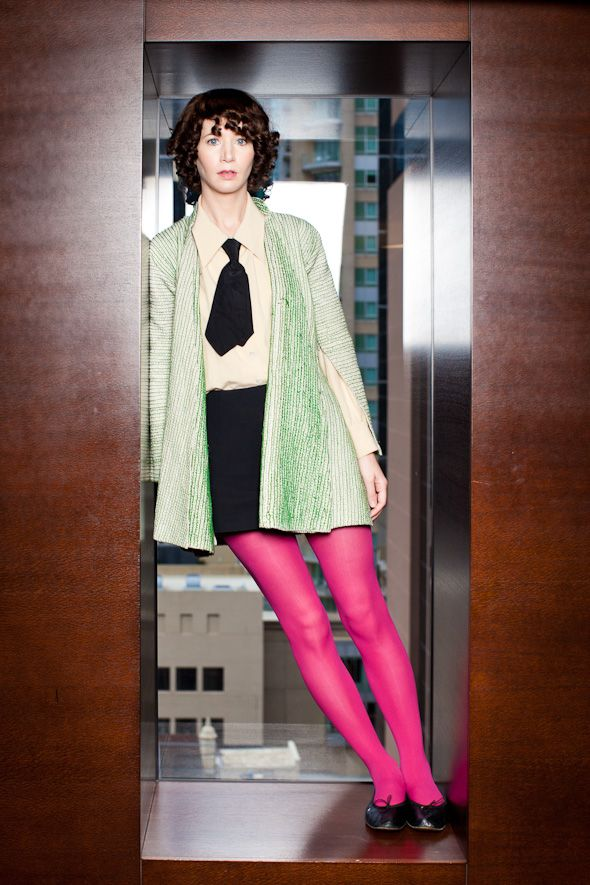 Miranda July - loving the neon tights with the mint - totally makes her green eyes and fuchsia lips pop <3
