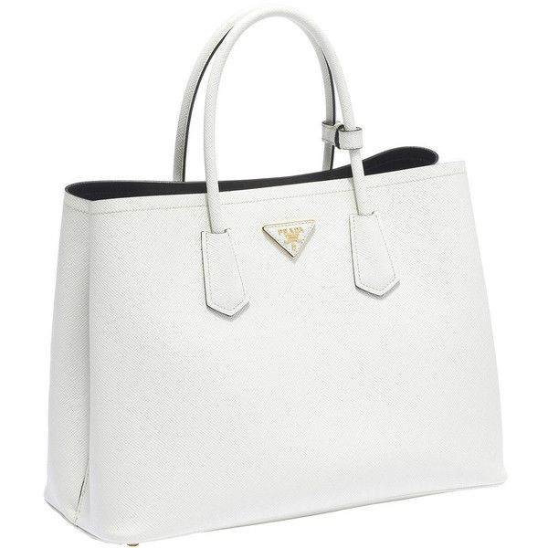 Prada Saffiano Cuir Leather Tote (2 185 AUD) ❤ liked on Polyvore featuring bags, handbags, tote bags, white tote bag, leather purse, white leather tote, white purse and white handbags