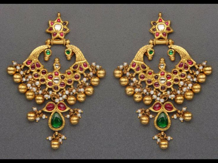 Temple Earrings in Gold with Cabochon Rubies and Emeralds