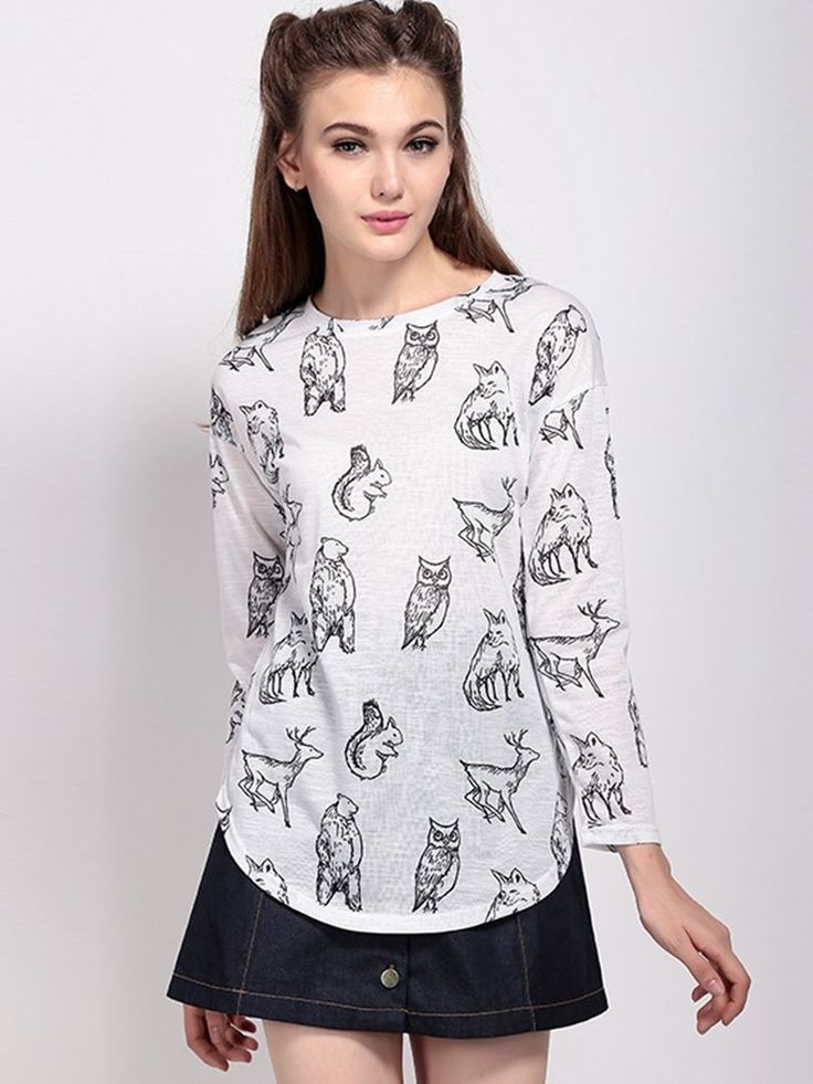 Material:  Polyester   Style:casual   Collar:o-nack   Sleeve Length:  three quarter sleeve   Color:white   pattern:animals   Season:autumn,winter      Package included:   1*T-Shirts