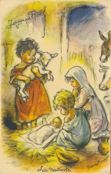 Vintage Christmas card - Germaine Bouret