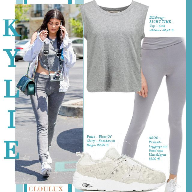 kylie jenner in tr gt ein sportliches outfit in grau sportlich looks pinterest. Black Bedroom Furniture Sets. Home Design Ideas