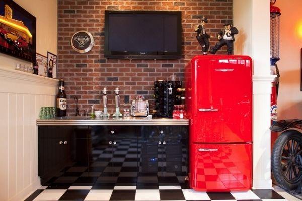 basement renovation ideas small kitchenette black cabinets red fridge retro style