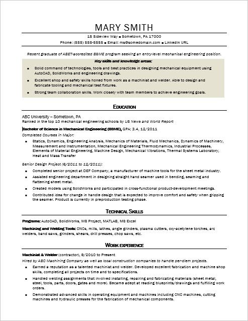 sample resume for an entrylevel mechanical engineer