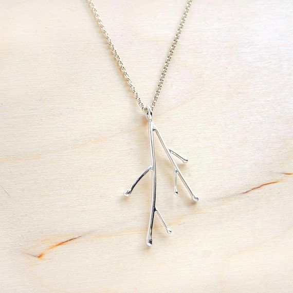 Branches Silver Pendant On Chain  Sterling Silver Necklace