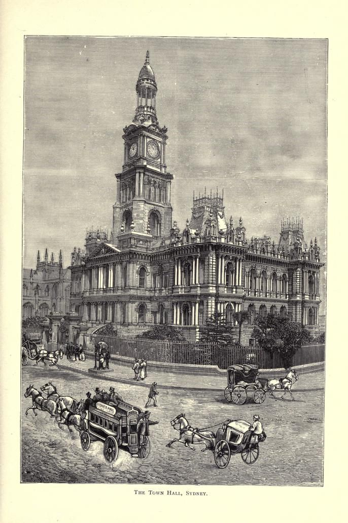 Town Hall, Sydney - From Australian Pictures by H.Willoughby 1886