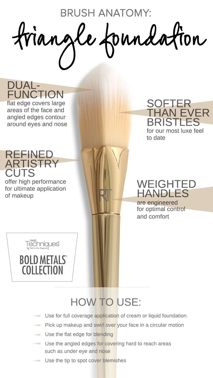 Our new Bold Metals Collection 101 triangle foundation brush is dual-function: use the flat edge for blending and the angled edges for covering hard to reach areas under the eyes and around the nose. Ideal with liquid or cream foundation, this brush is a must-have for any collection. Click to shop the 101 triangle foundation brush.