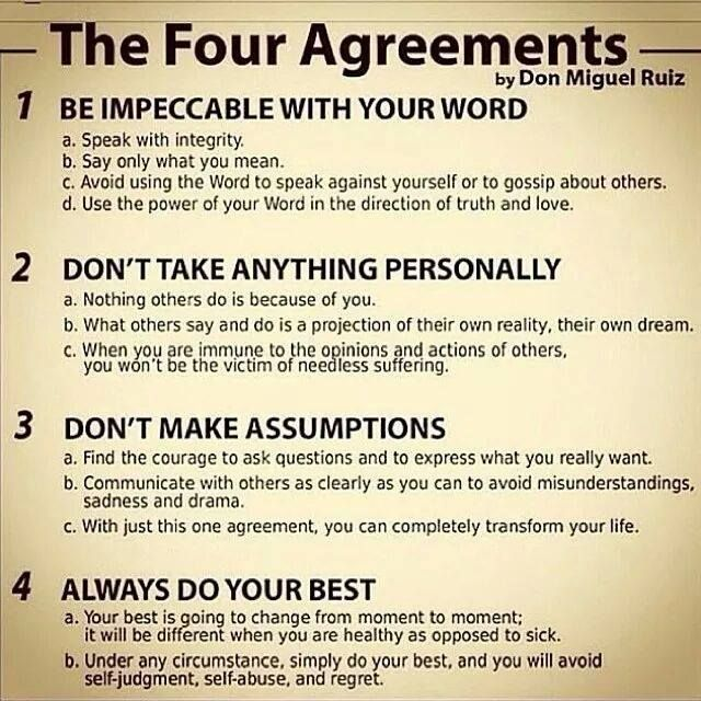 The Four Agreements by Don Miguel Ruiz - these are great! i want to read the book
