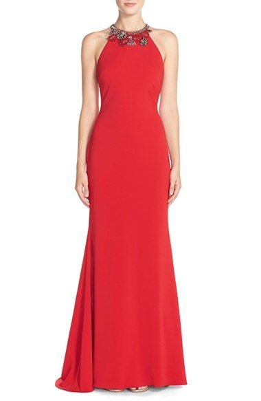 Free Shipping And Returns On Badgley Mischka Embellished Stretch Crepe Gown At Nordstrom