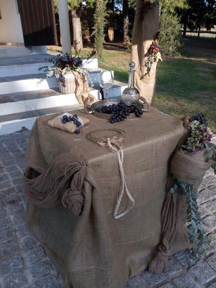 Autumn rustic wedding ceremony table.
