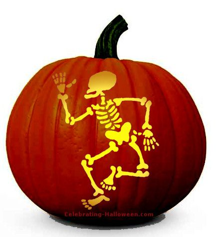 Halloween skeleton pumpkin carving pattern spooky for Skeleton pumpkin pattern