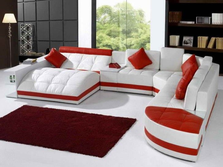 Furniture, Unique Red White Leather Sectional Sofa Completed With Red  Square Cushions And Red Shade Woven Rug On Modern Glass Window: Make Y..