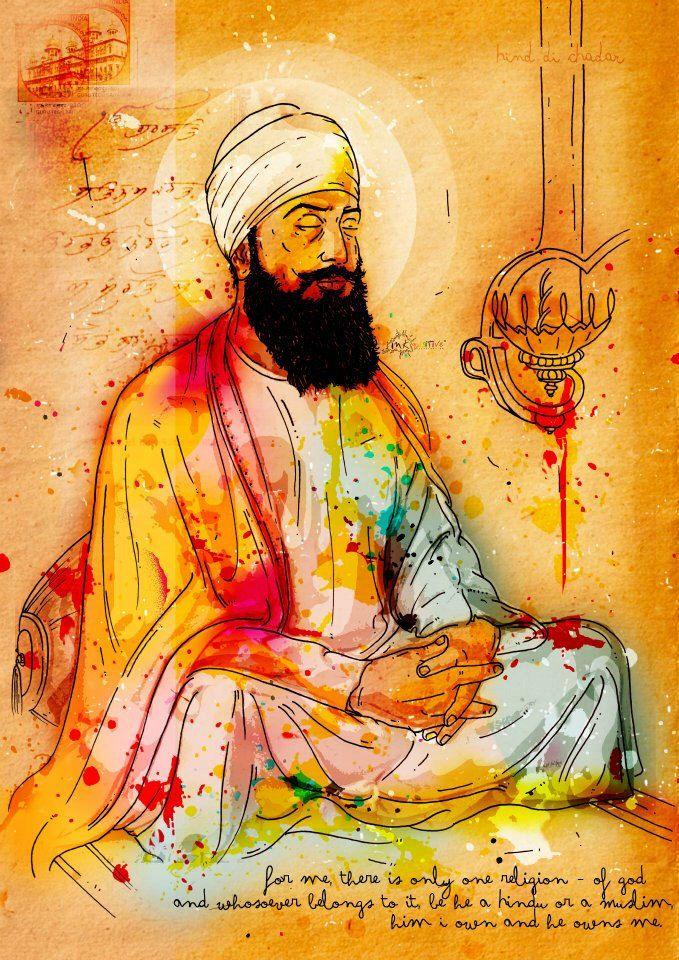 Guru Tegh Bahadur Ji by FulkariBazaar on Etsy https://www.etsy.com/listing/202245015/guru-tegh-bahadur-ji