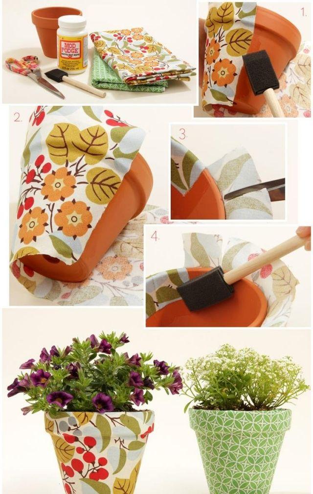 Blumentöpfe selber gestalten ideen stoff serviettentechnik anleitung