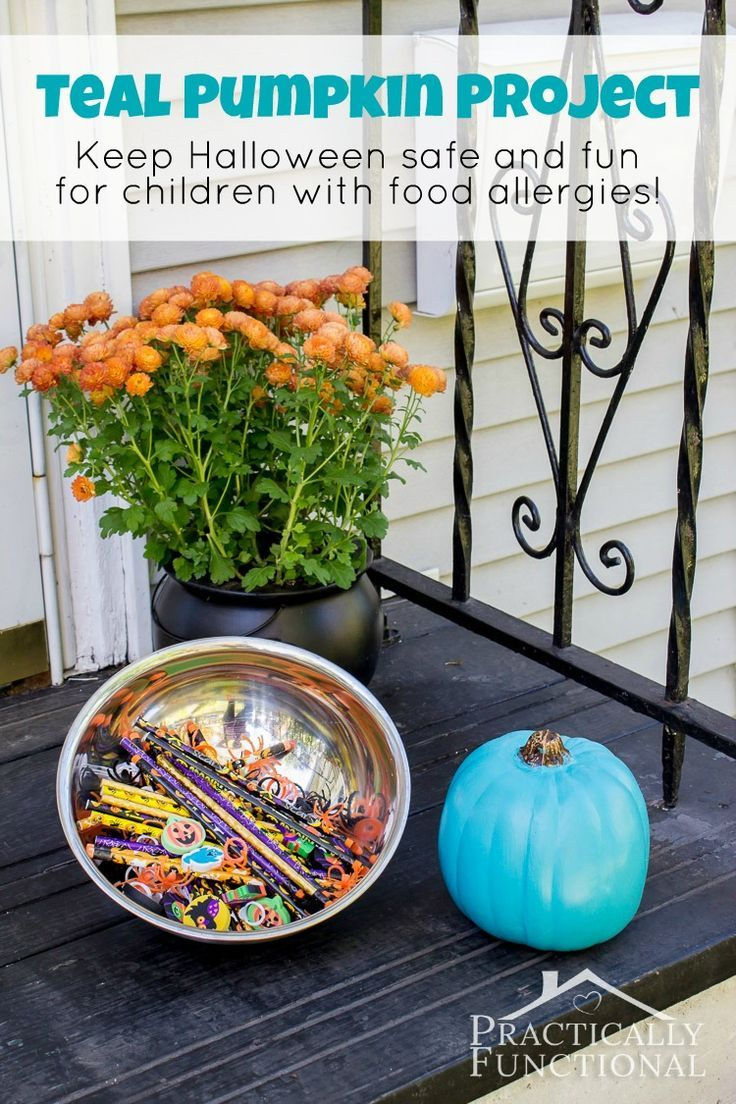 Teal Pumpkin Project: Keep Halloween safe and fun for everyone! Have candy AND non-food treats available so kids with food allergies can have treats too!