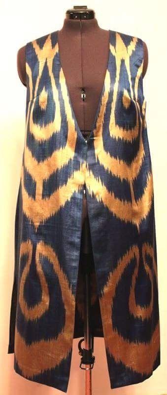 Женская длинная жилетка из иката ( 50% хлопка и 50% шёлка ) Women's vest - 50%cotton, 50%silk. Material - Ikat. Hand weaving, hand made.