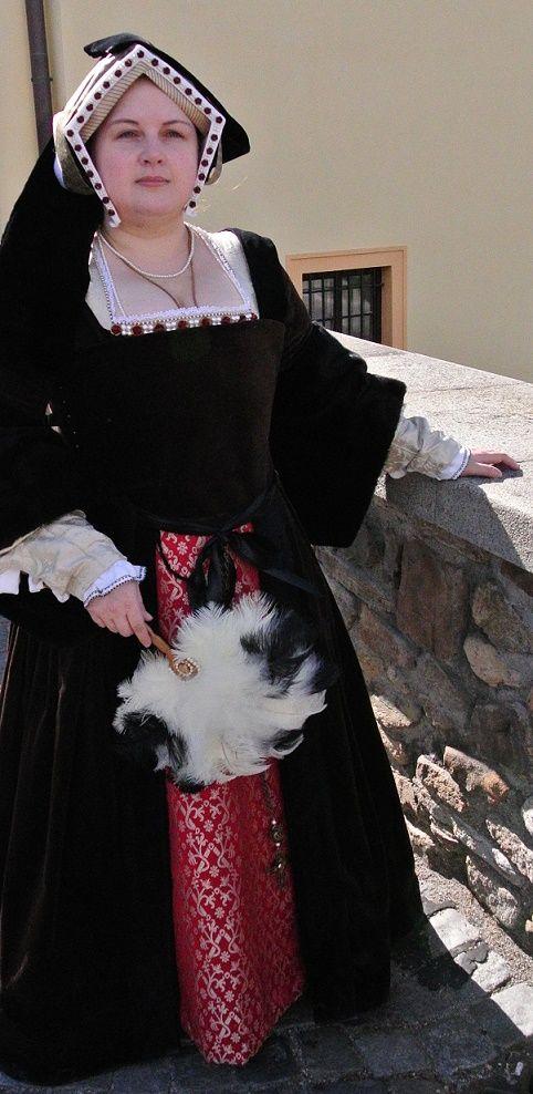 """My new Henrician (""""Tudor"""") gown with Gable hood."""