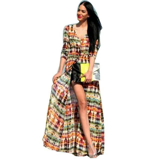 2016 Новый стиль летнее платье женщин Boho Tie Dye пляж платье из шифона блузка длинный кардиган кимоно длиной до пола макси платья Vestido