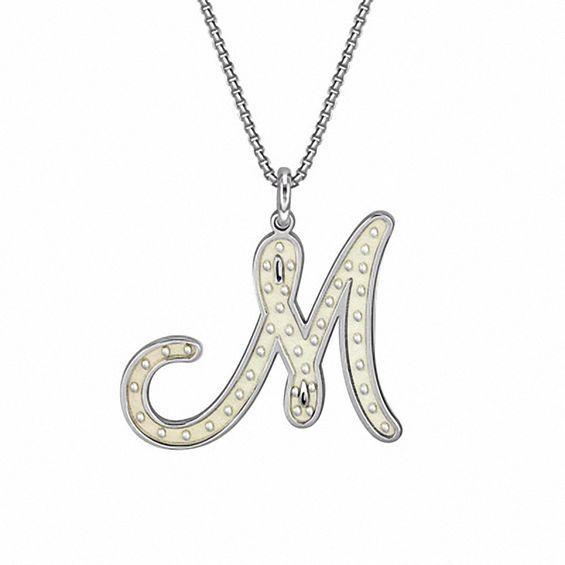 Monogram Script Letter Initial Pendant Necklace Gold Silver