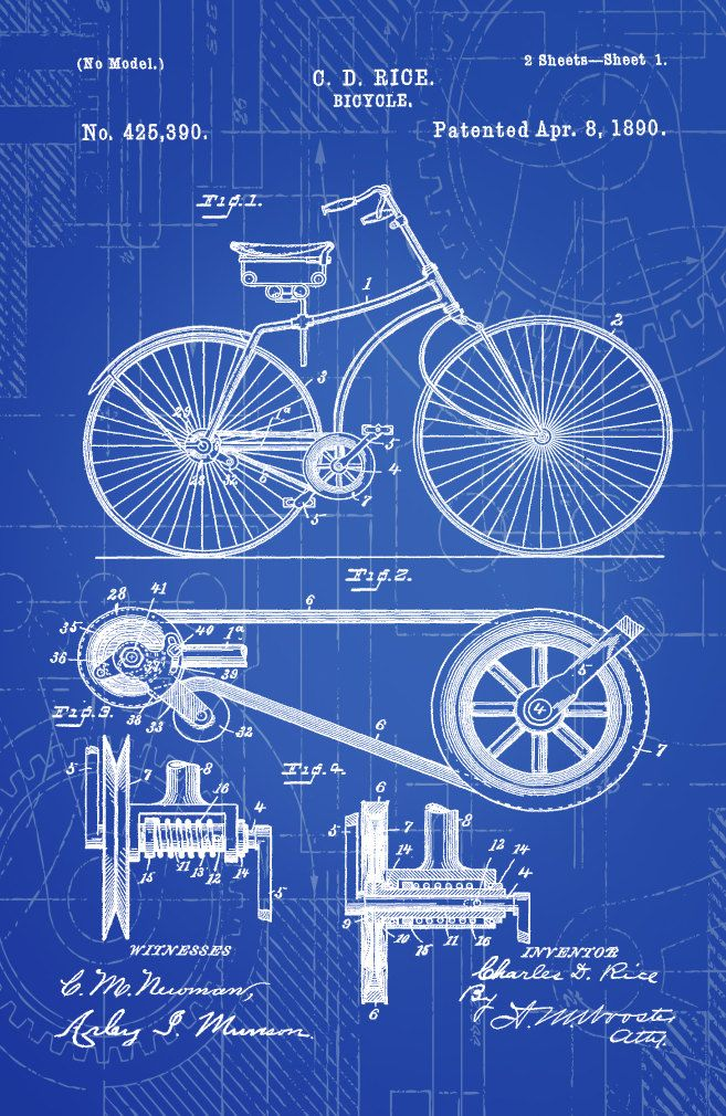Blueprint Art of Patent Bicycle 1890 Technical от BigBlueCanoe - Chase's Office Inspo.