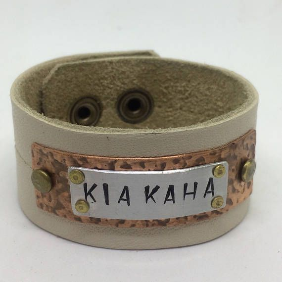 White Leather Cuff Bracelet for her with and stamped KIA KAHA.