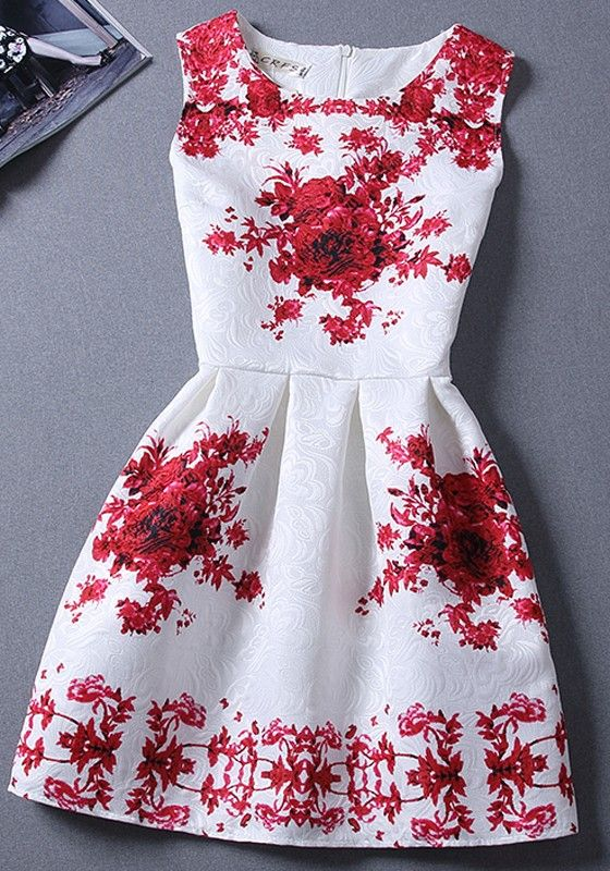 White Floral Pleated Round Neck Sleeveless Vintage Mini Dress
