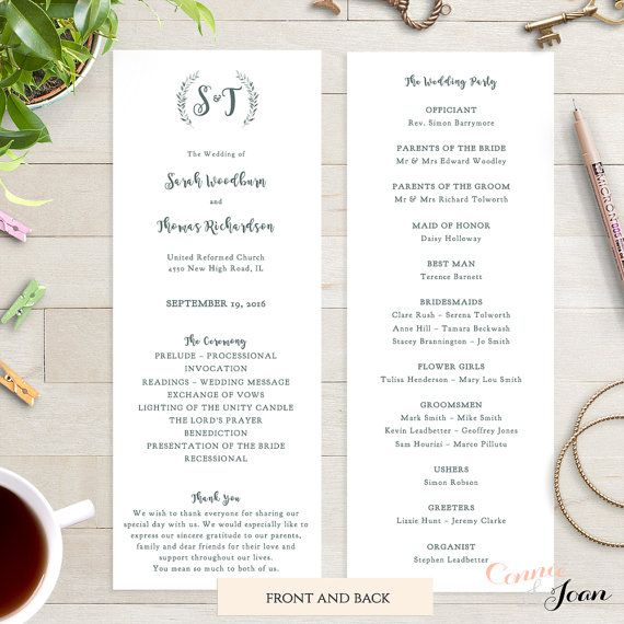 Wedding program template printable order of by ConnieAndJoan