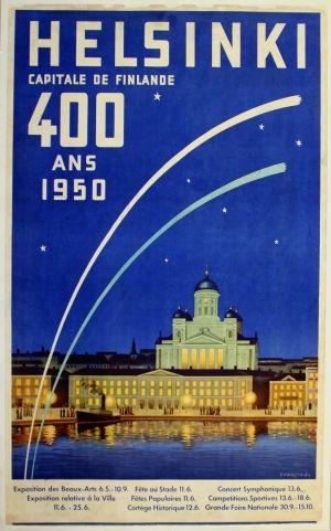 Helsinki, 1950 - original vintage poster by G Forsstrom listed on AntikBar.co.uk