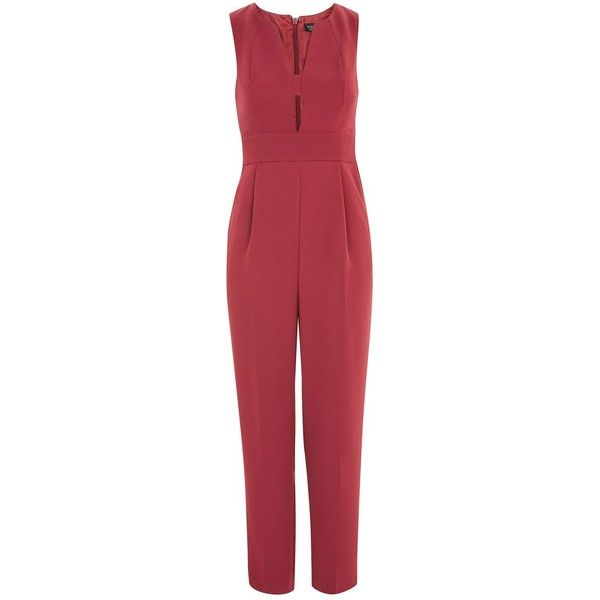 TopShop Open Front Jumpsuit (400 PLN) ❤ liked on Polyvore featuring jumpsuits, raspberry, red jump suit, topshop romper, playsuit jumpsuit, cocktail romper and jump suit