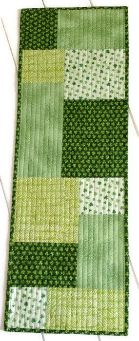 St Patrick's Day Quilted Table Runner in shade of green, Shamrock table cloth, St Patricks Bureau Scarf, Luck of the Irish, Quiltsy Handmade by LawsonCreations on Etsy