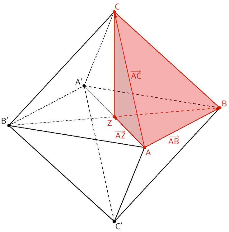 Oktaeder ABA'B'CC', Pyramide ABZC, Verbindungsvektoren der Punkte A und B, A und Z sowie A und C